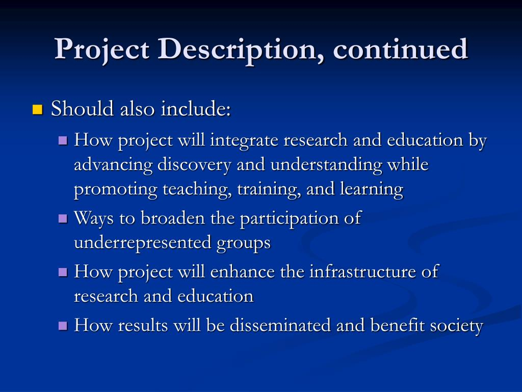 Project Description, continued