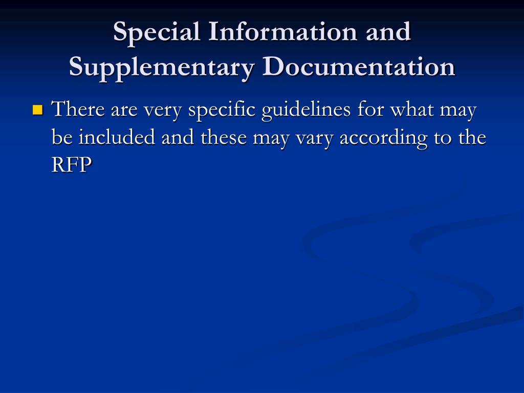 Special Information and Supplementary Documentation