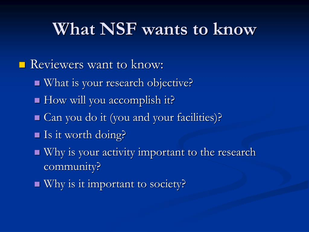 What NSF wants to know