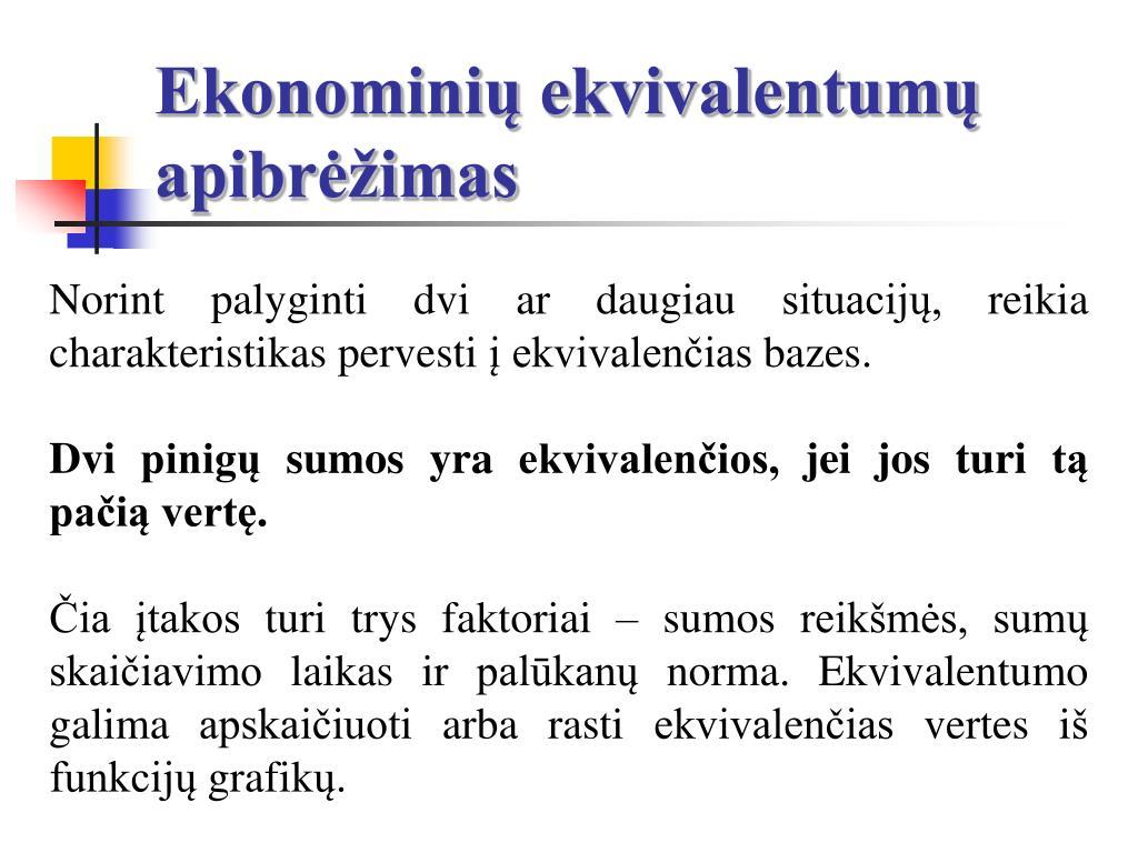 Ekonominių ekvivalentumų apibrėžimas