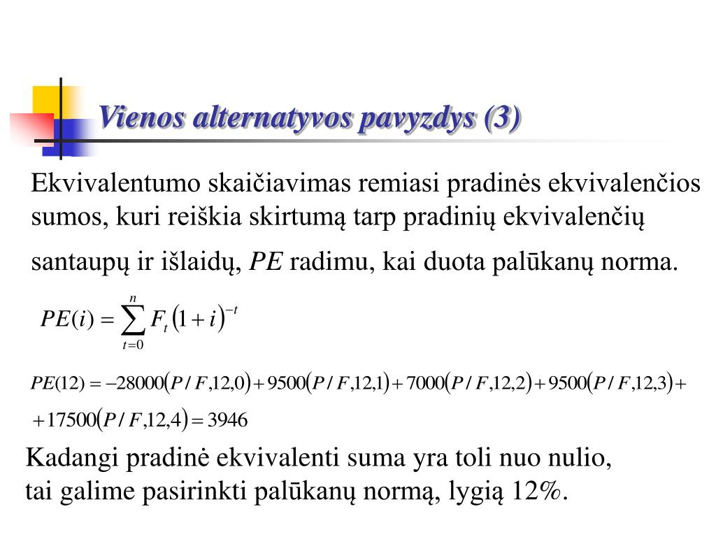Vienos alternatyvos pavyzdys (3)