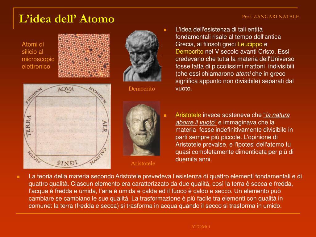 L'idea dell'esistenza di tali entità fondamentali risale al tempo dell'antica Grecia, ai filosofi greci
