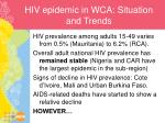 hiv epidemic in wca situation and trends
