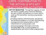 jurta contribution to the iatt hiv yp s key objectives and activities