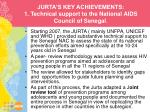 jurta s key achievements 1 technical support to the national aids council of senegal