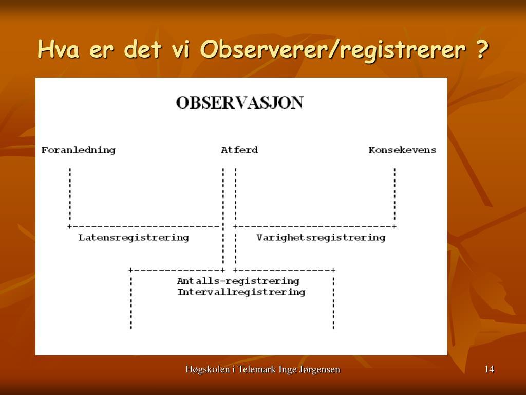 Hva er det vi Observerer/registrerer ?