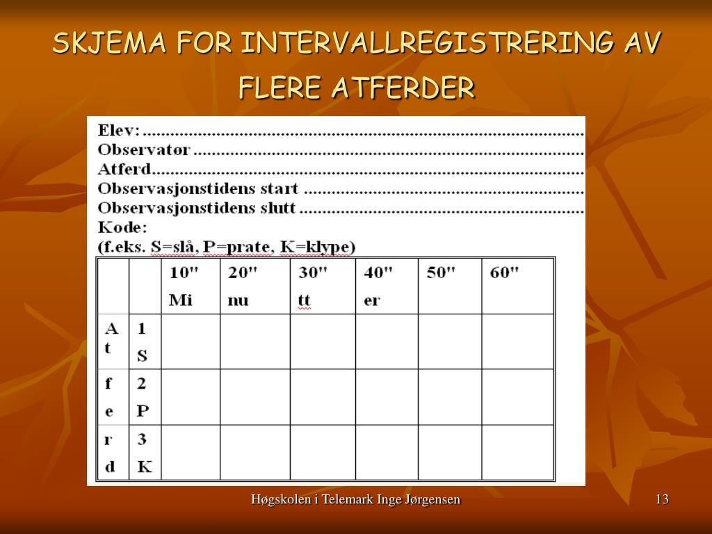 SKJEMA FOR INTERVALLREGISTRERING AV FLERE ATFERDER