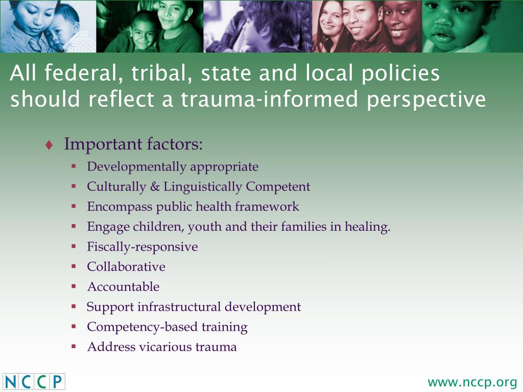 All federal, tribal, state and local policies should reflect a trauma-informed perspective