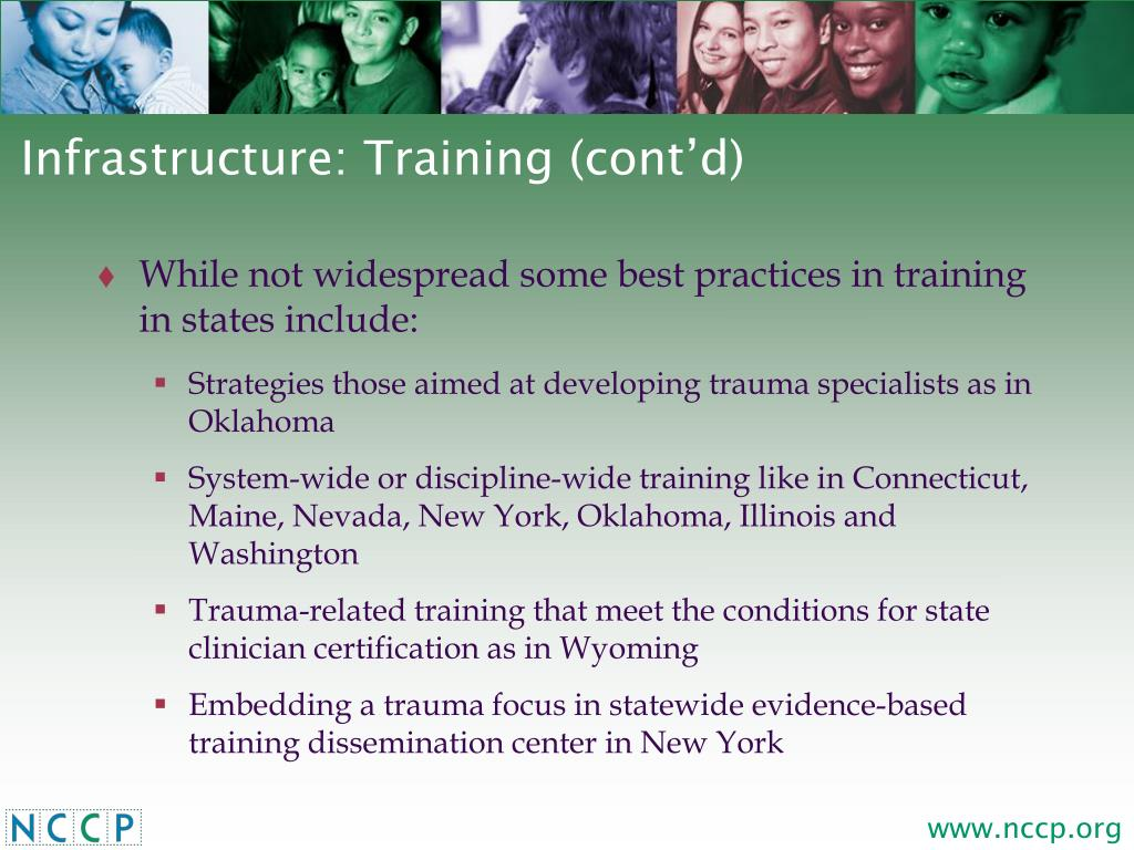 Infrastructure: Training (cont'd)