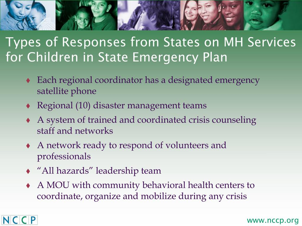 Types of Responses from States on MH Services for Children in State Emergency Plan