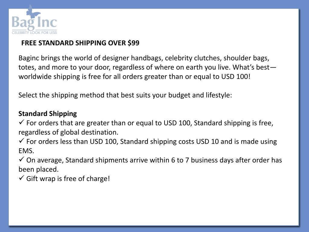 FREE STANDARD SHIPPING OVER $99