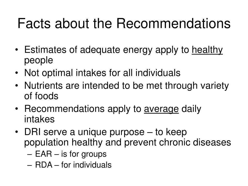 Facts about the Recommendations