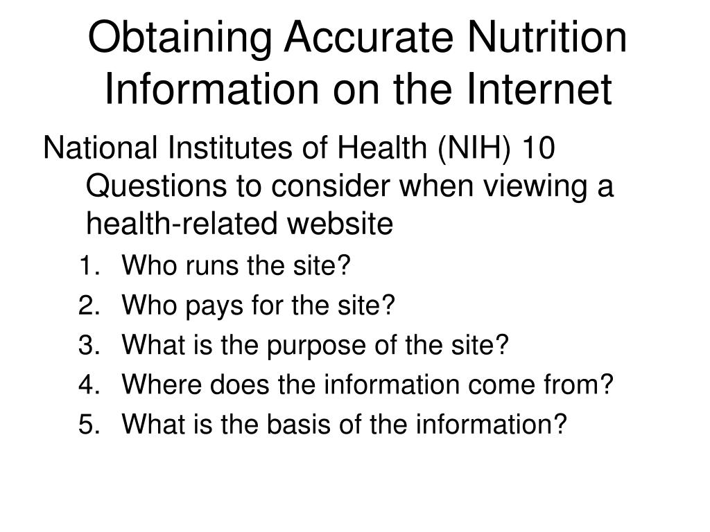 Obtaining Accurate Nutrition Information on the Internet