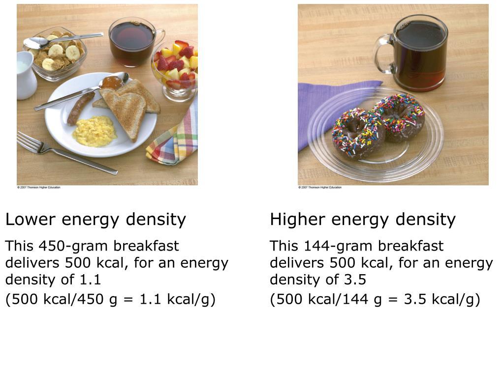 Lower energy density