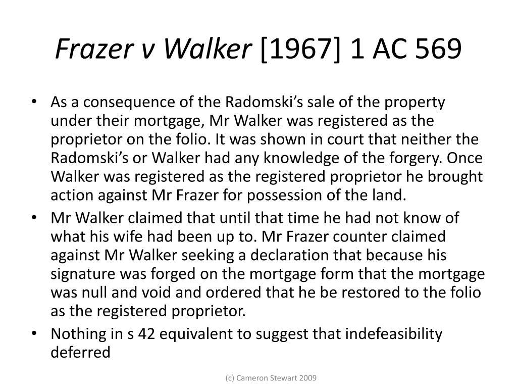 Frazer v Walker