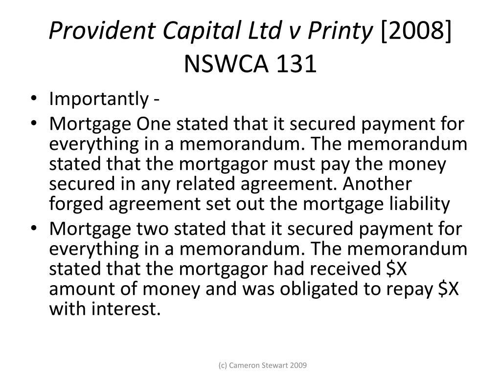 Provident Capital Ltd v