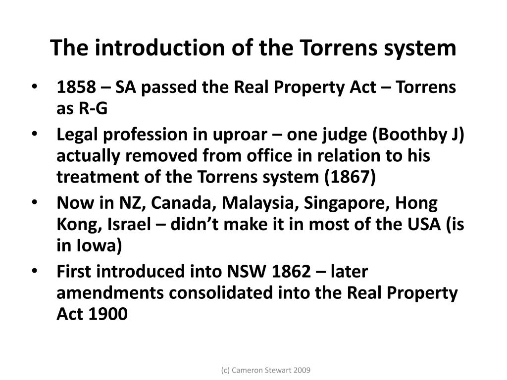 The introduction of the Torrens system