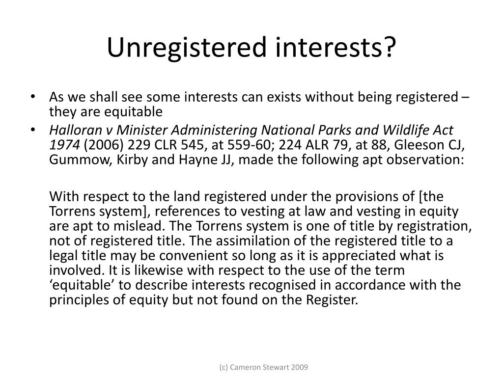 Unregistered interests?