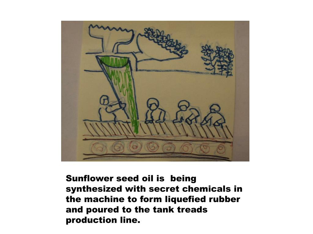 Sunflower seed oil is  being synthesized with secret chemicals in the machine to form liquefied rubber and poured to the tank treads production line.