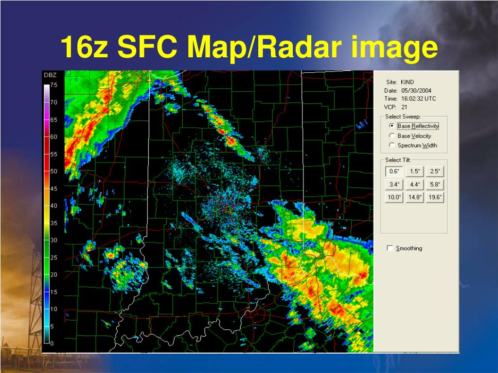16z SFC Map/Radar image