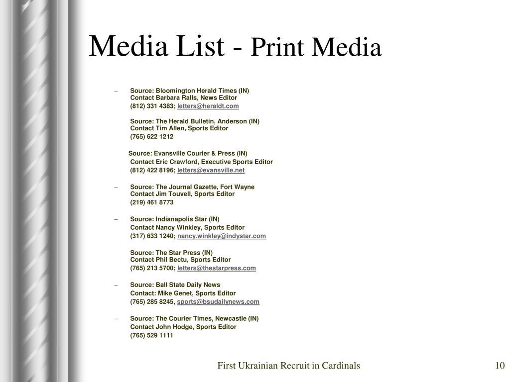 Media List -