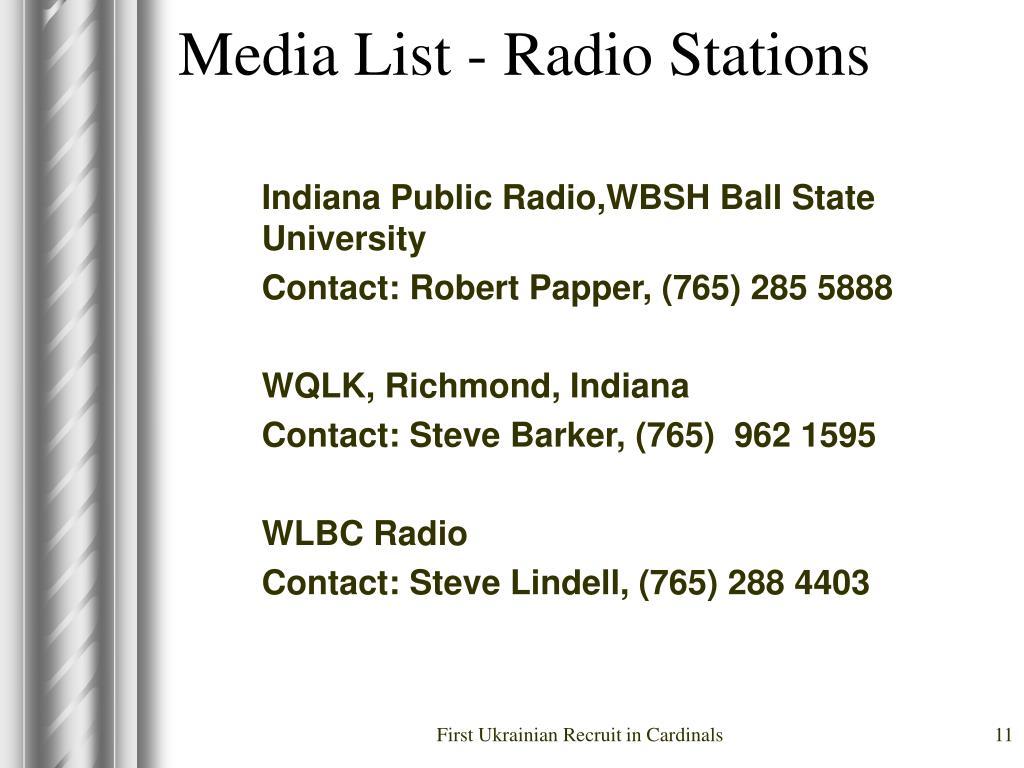 Media List - Radio Stations