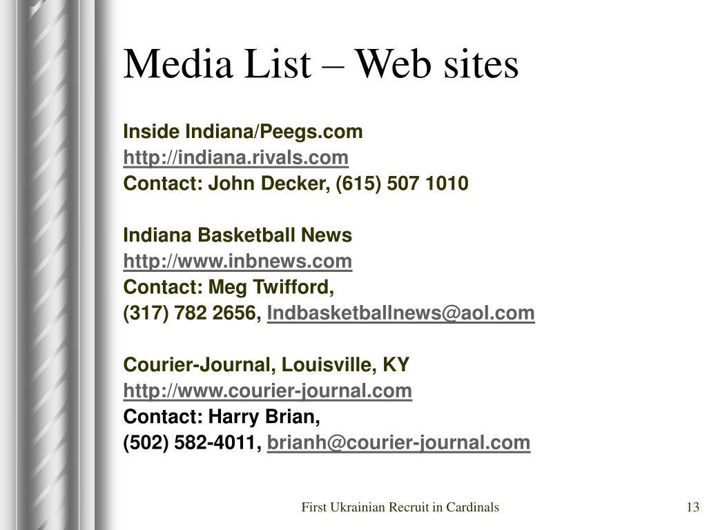 Media List – Web sites