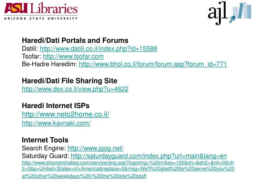 Haredi/Dati Portals and Forums