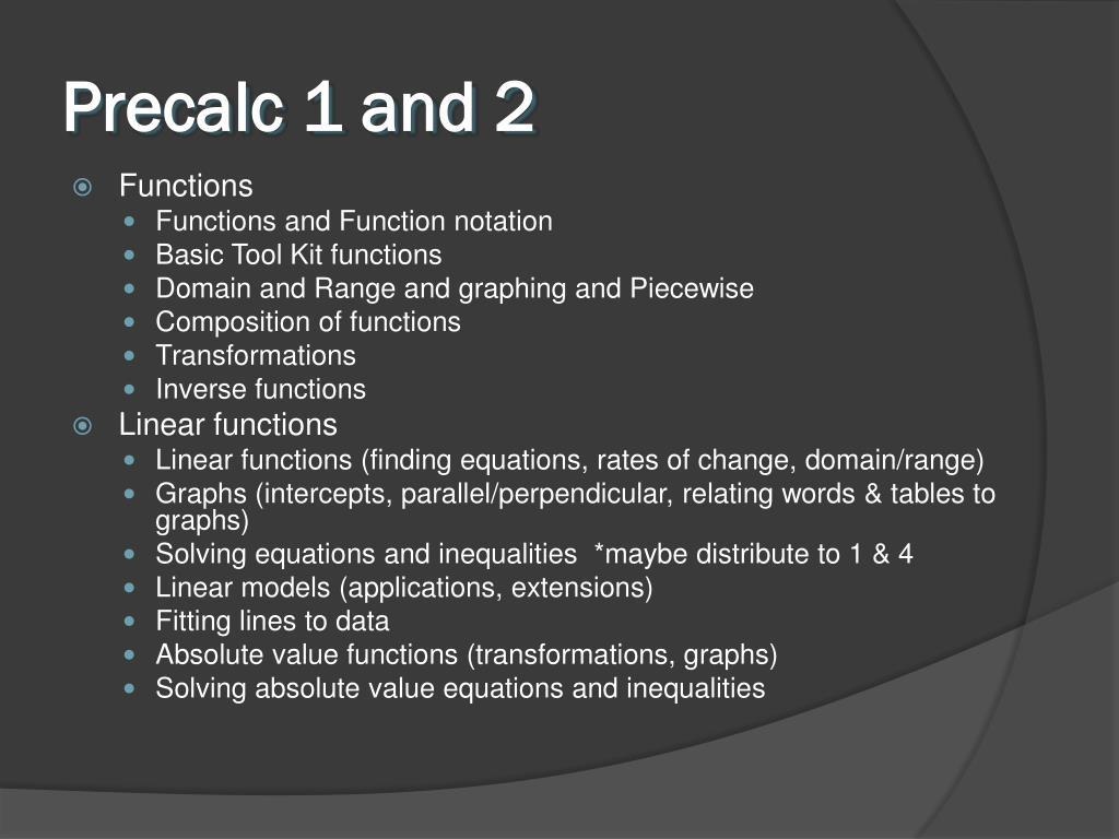 Precalc 1 and 2