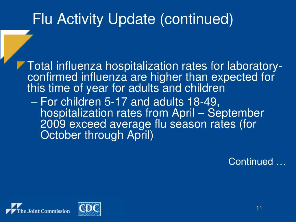 Flu Activity Update (continued)