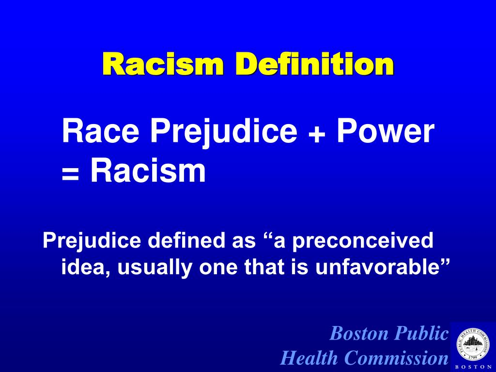 a definition of race and the issue of racism Definition of racism - prejudice, discrimination, or antagonism directed against  someone of a different race based on the belief that one's own race is s.