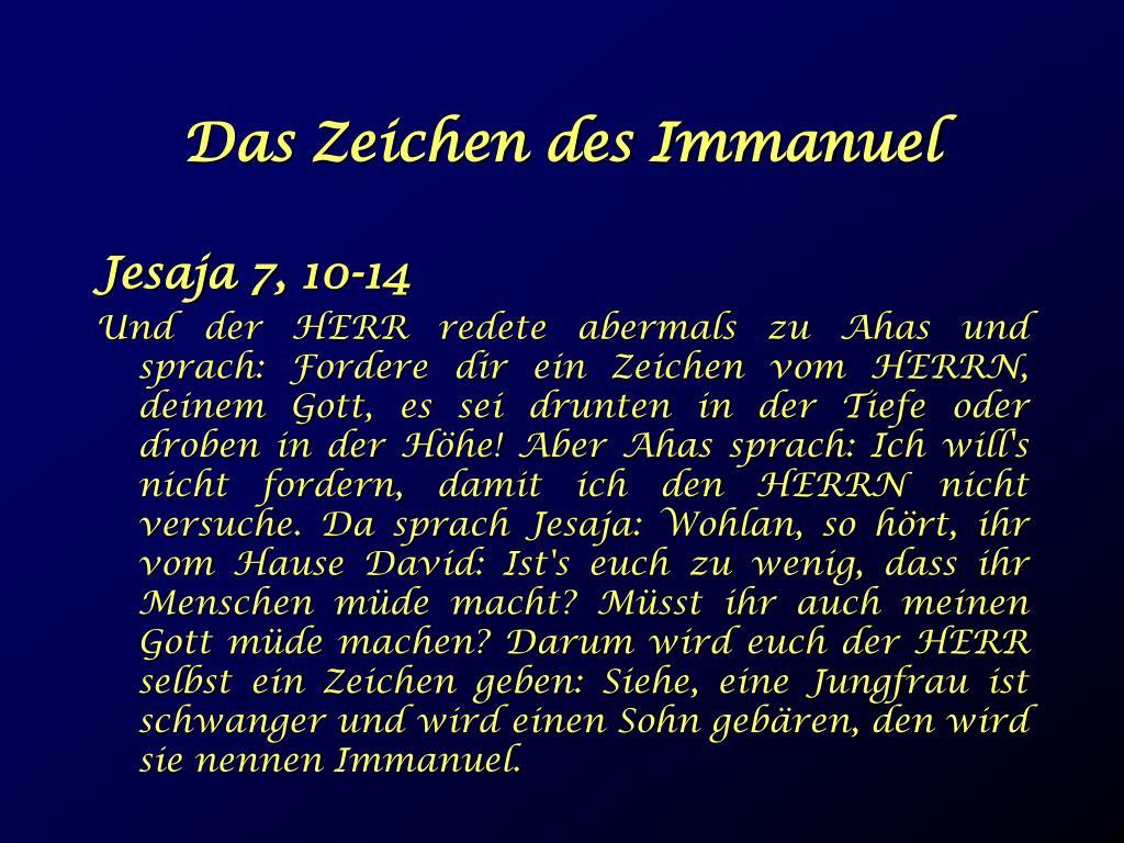 Das Zeichen des Immanuel