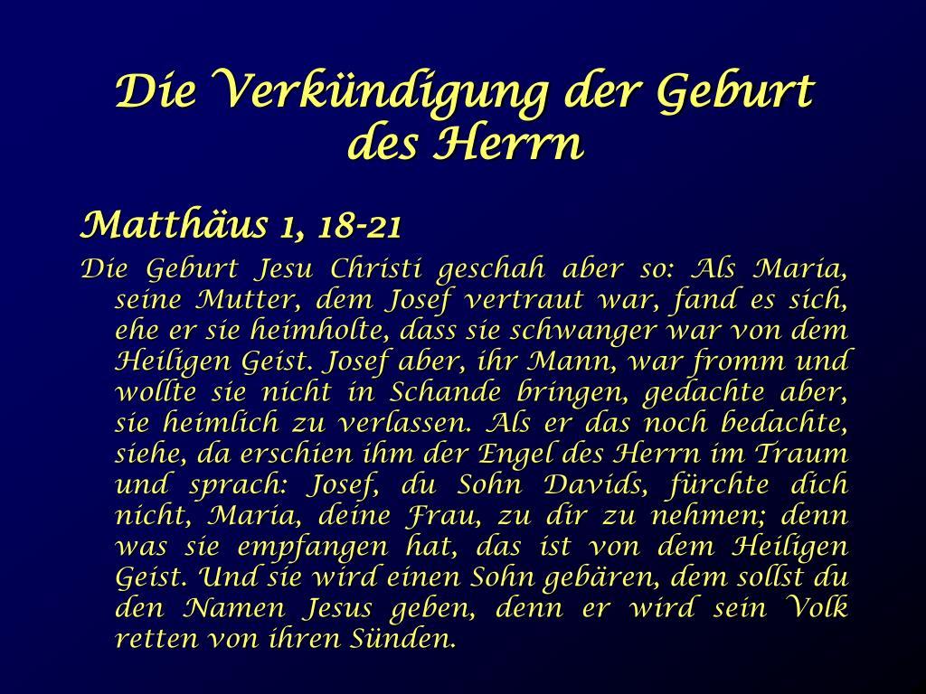 Die Verkündigung der Geburt des Herrn