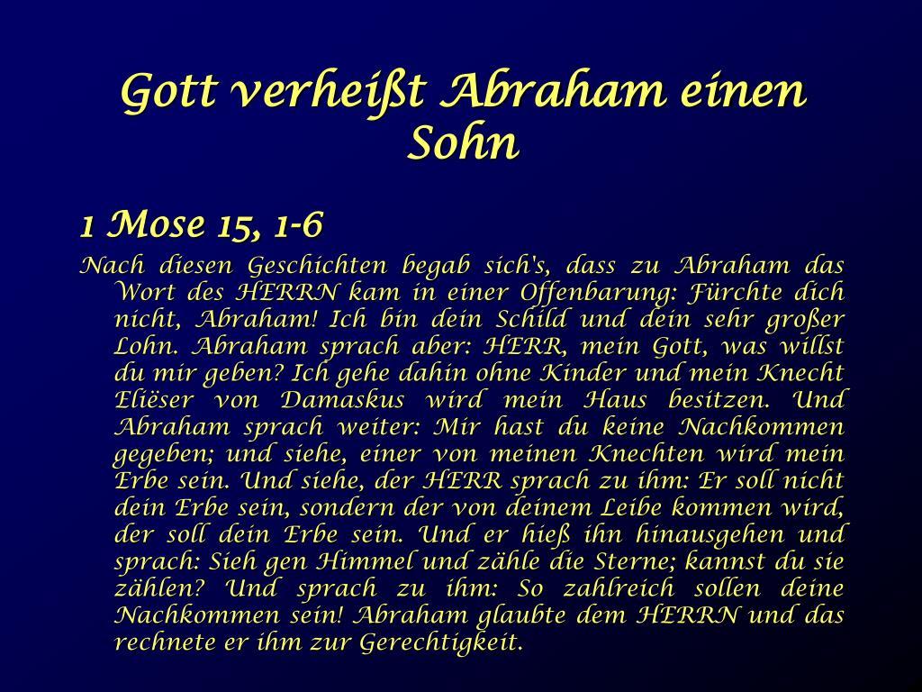 Gott verheißt Abraham einen Sohn
