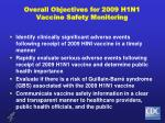 overall objectives for 2009 h1n1 vaccine safety monitoring
