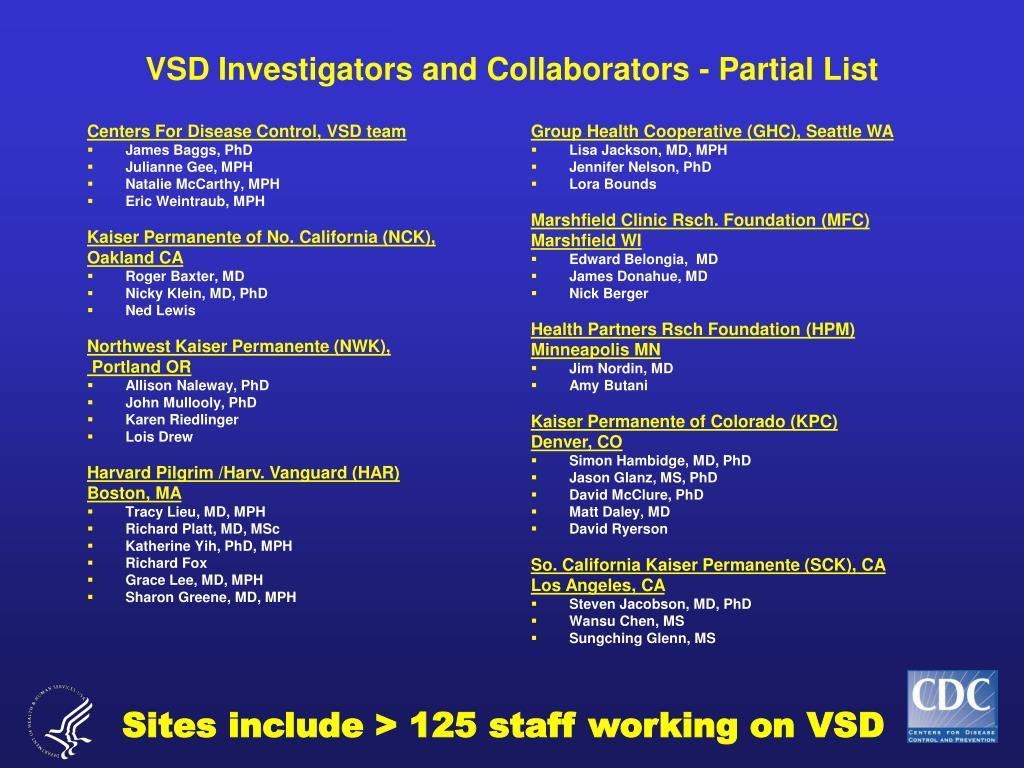 Centers For Disease Control, VSD team
