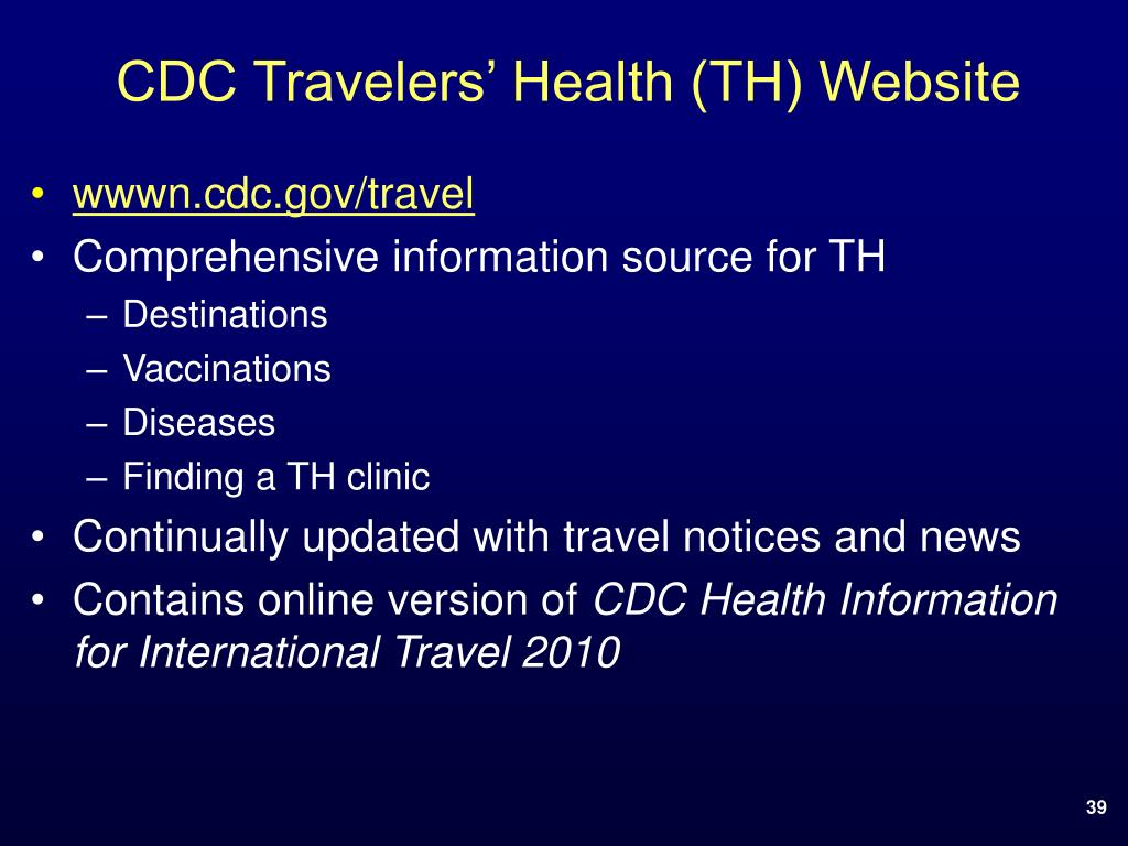 CDC Travelers' Health (TH) Website