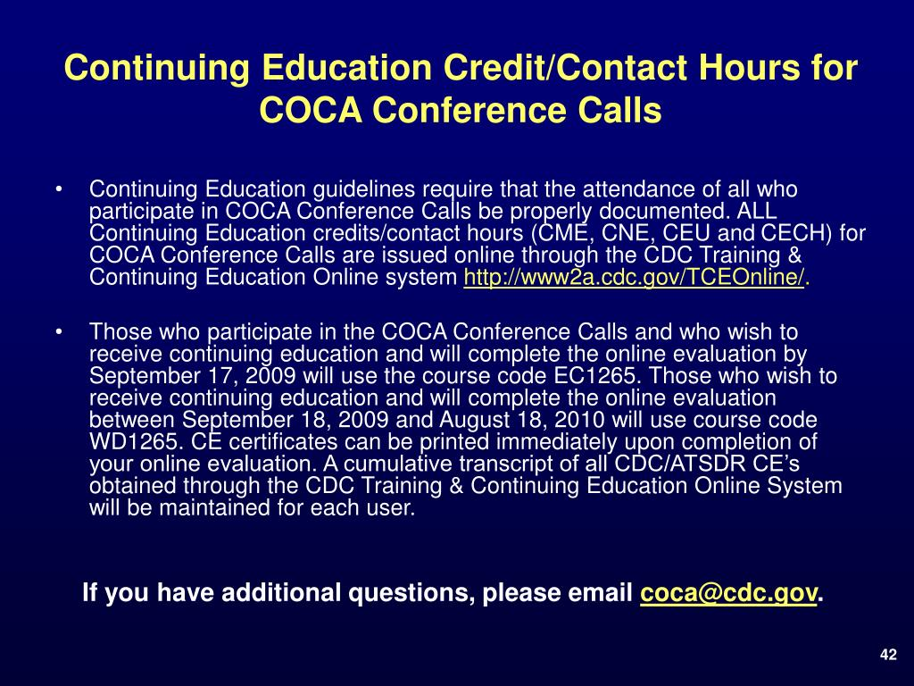 Continuing Education Credit/Contact Hours for COCA Conference Calls