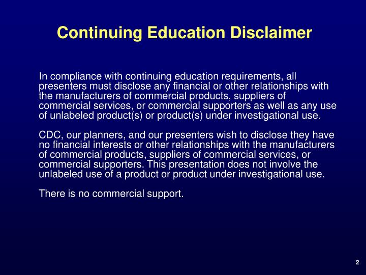Continuing education disclaimer