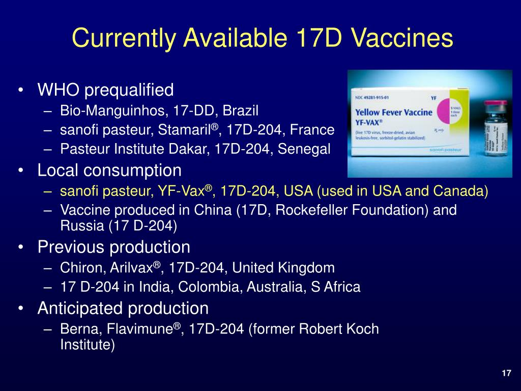 Currently Available 17D Vaccines