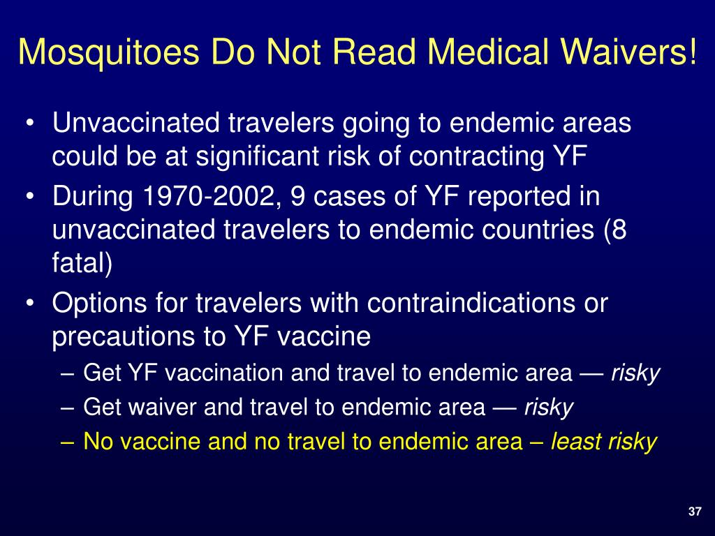 Mosquitoes Do Not Read Medical Waivers!