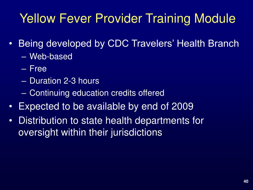 Yellow Fever Provider Training Module