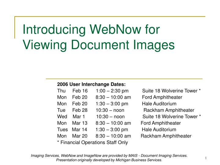 Introducing webnow for viewing document images
