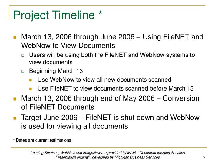 Project Timeline *