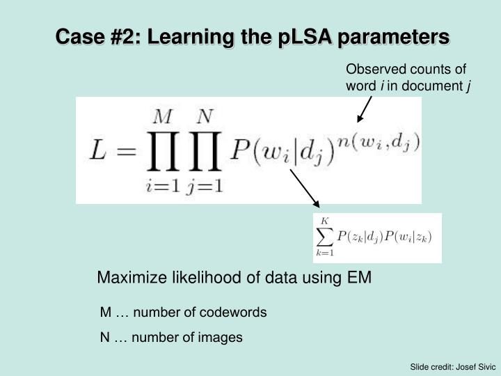 Case #2: Learning the pLSA parameters