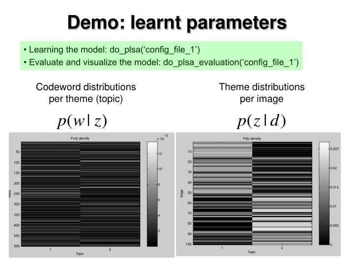 Demo: learnt parameters