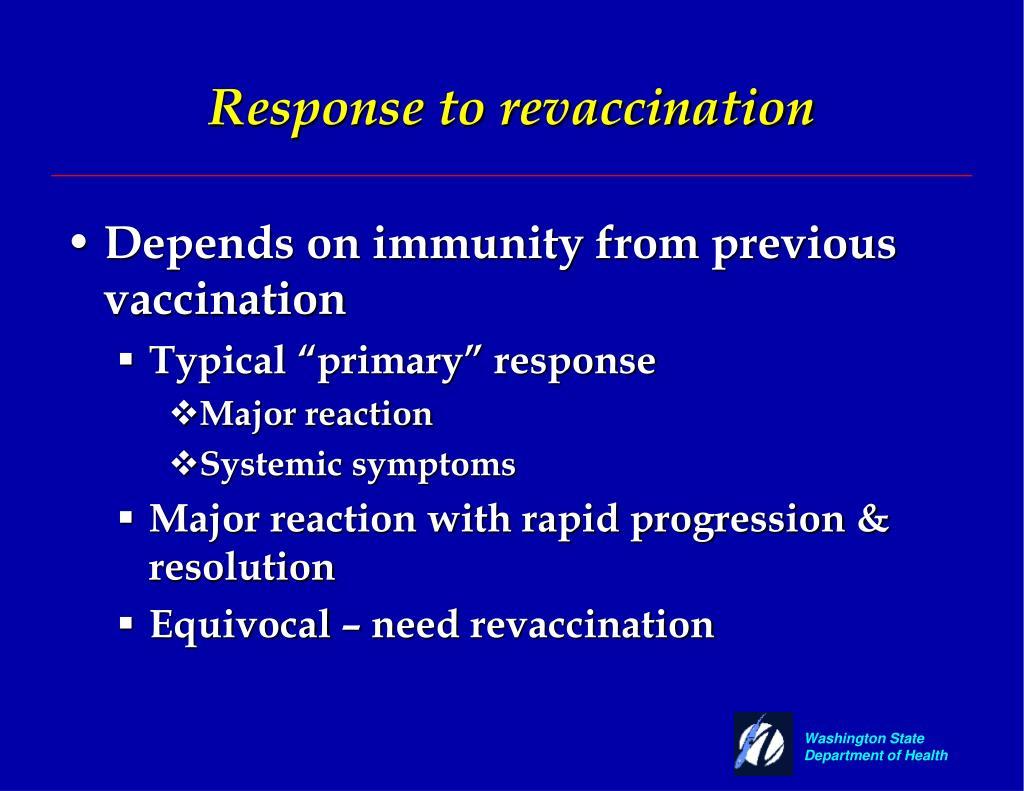 Response to revaccination
