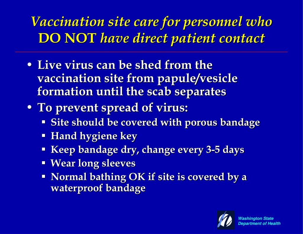 Vaccination site care for personnel who