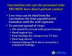 vaccination site care for personnel who do not have direct patient contact