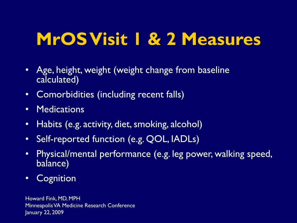 MrOS Visit 1 & 2 Measures